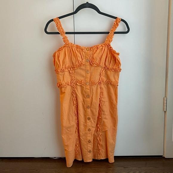 URBAN OUTFITTERS orange ruffle tank mini dress